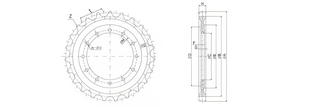 HITACHI Sprocket Dimensions
